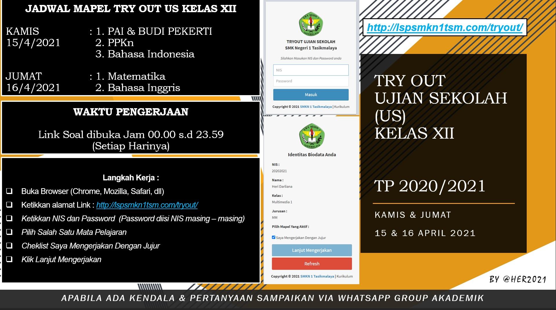 Try Out Persiapan US Kelas XII 2020/2021